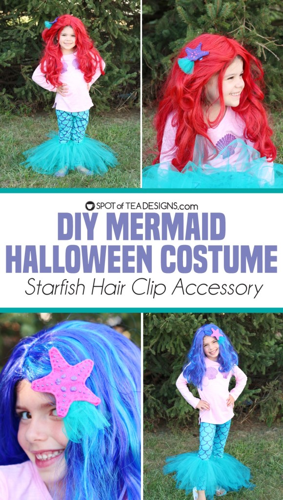 DIY Mermaid Halloween Costume DIY Starfish Hair Clip tutorial | spotofteadesigns.com