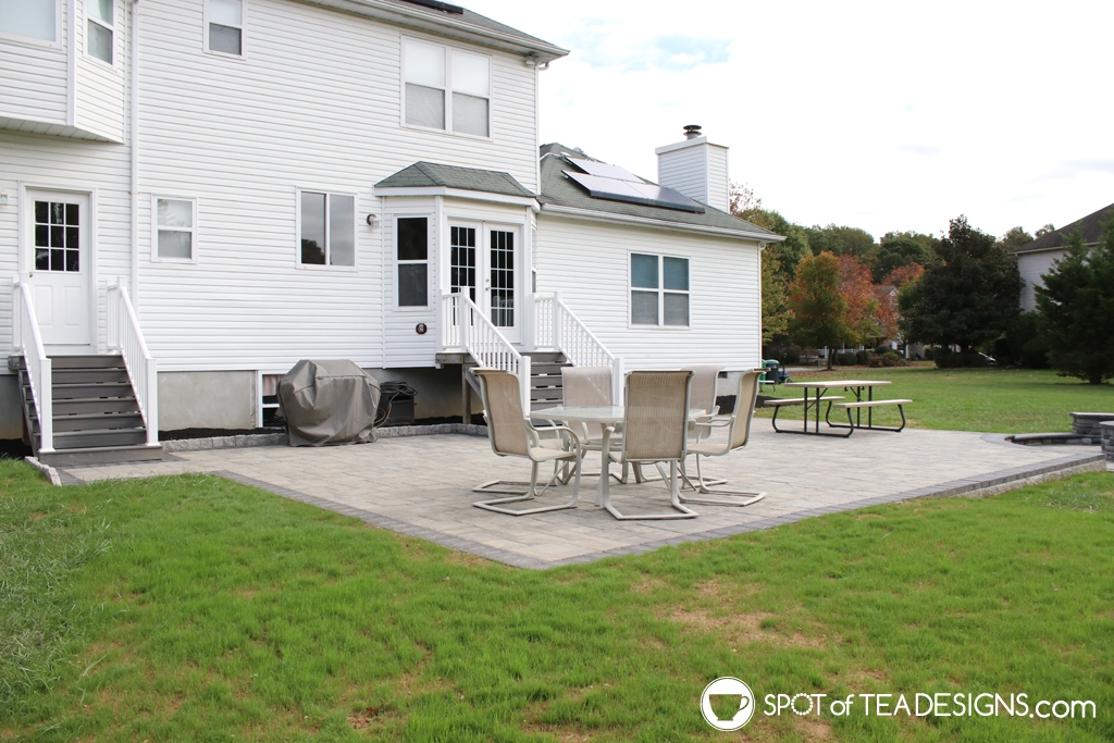 Backyard updates - new paver patio, fire pit and playset | spotofteadesigns.com