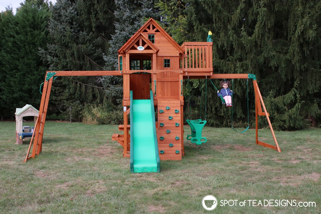 Backyard updates - new paver patio, fire pit and playset   spotofteadesigns.com