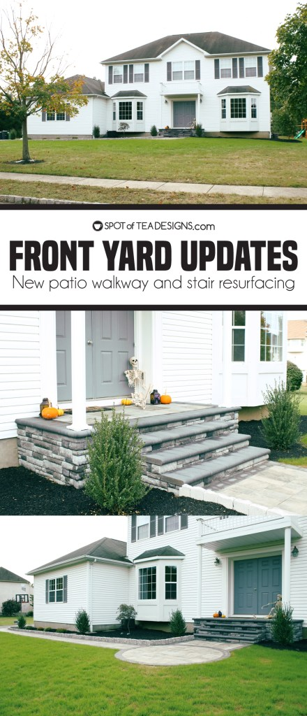 Front yard updates - after photos with new walkway and stair resurfacing | spotofteadesigns.com