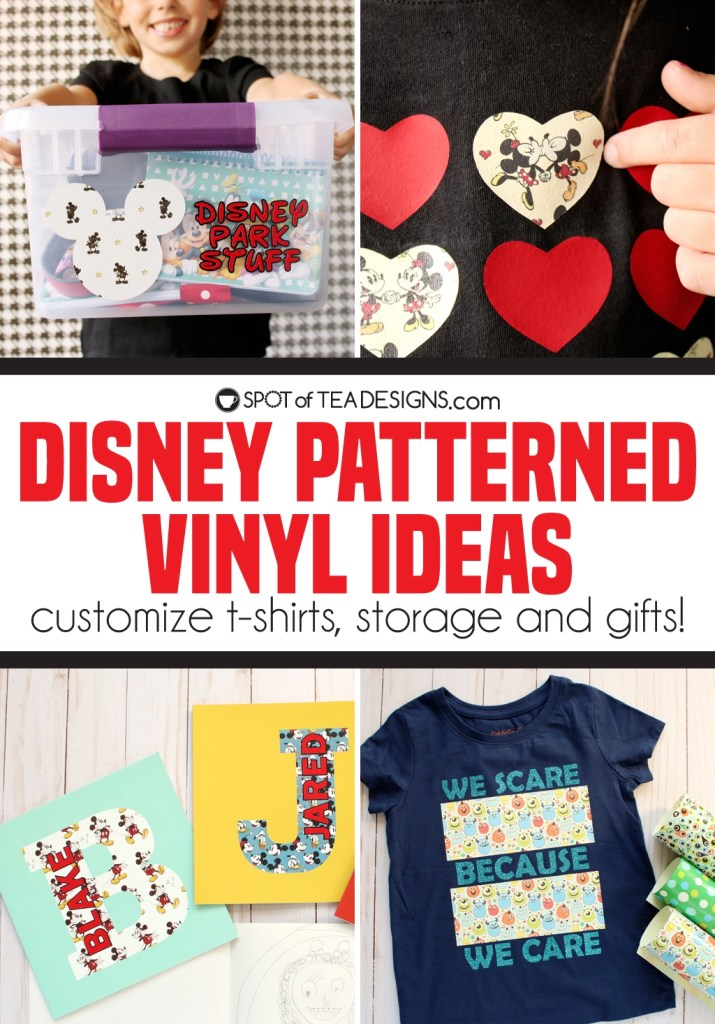 Cricut Disney Patterned Vinyl ideas - customize t-shirts, storage tubs and gifts | spotofteadesigns.com