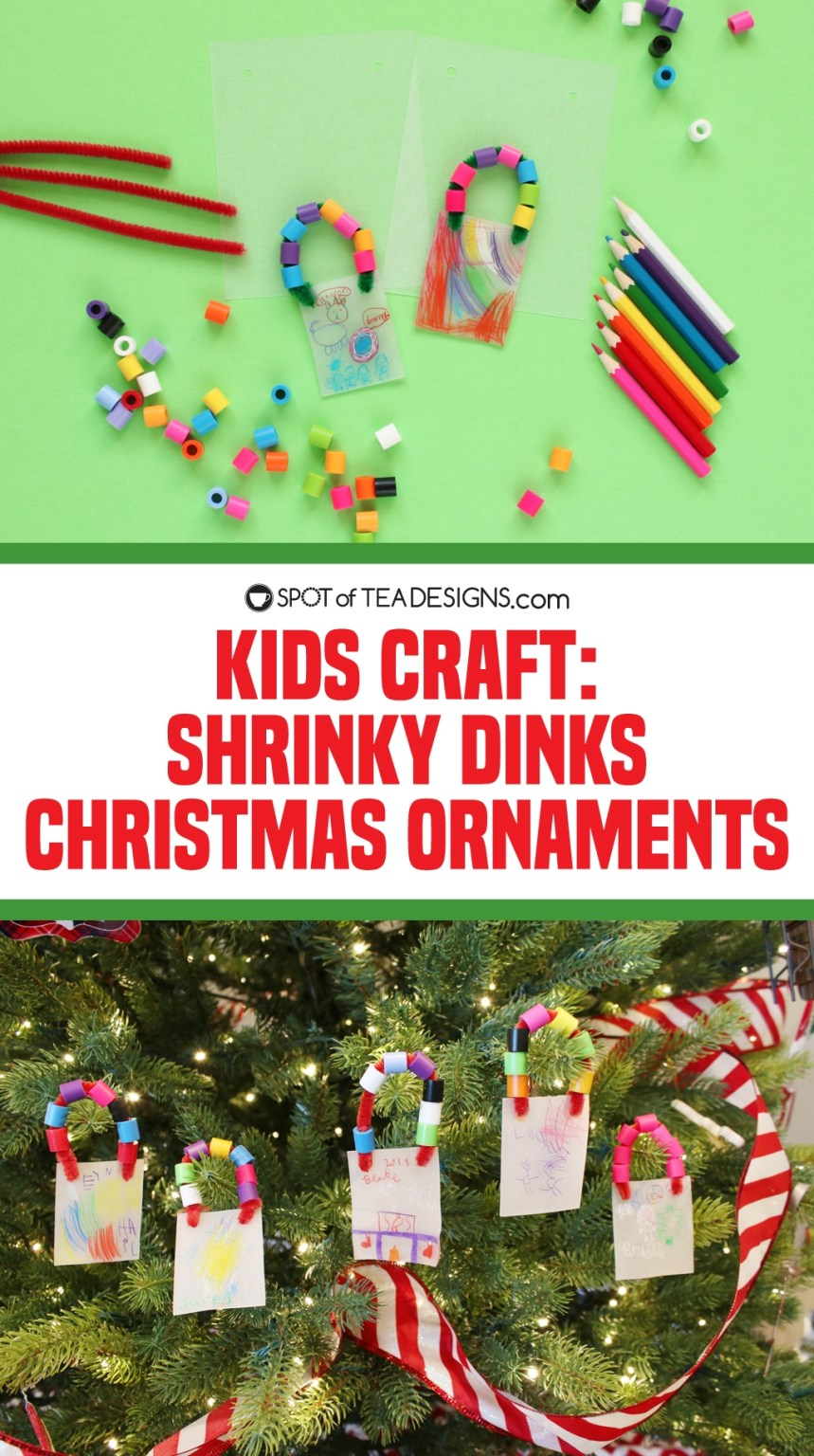 Kids Craft Shrinky Dinks Christmas Ornaments - a fun gift kids can make for grandparents! | spotofteadesigns.com