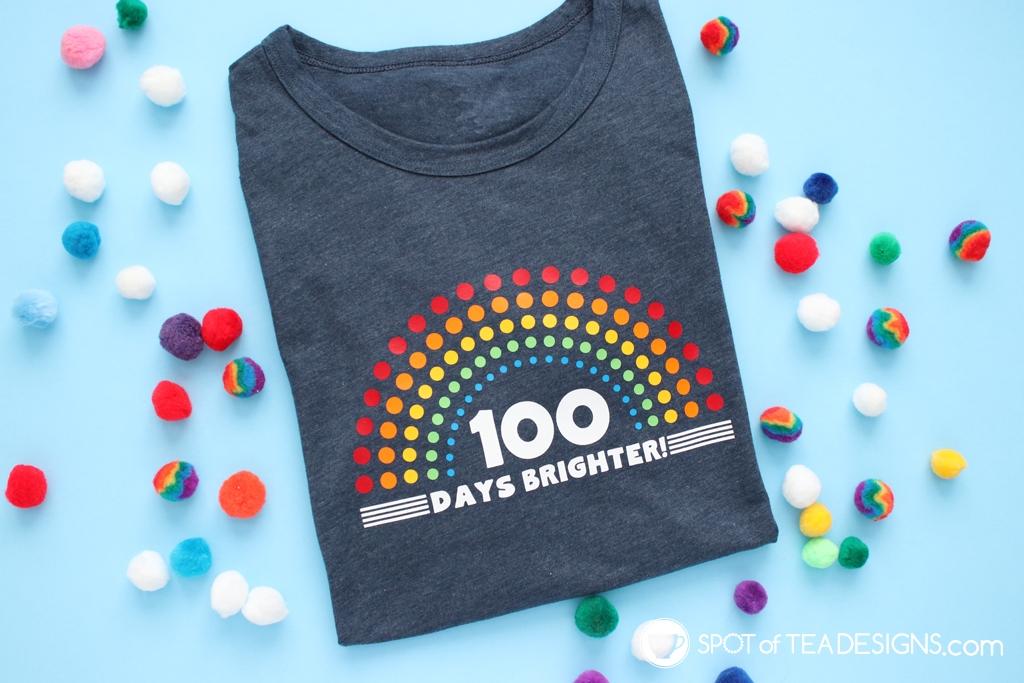 100 days brighter 100 days of school tshirt - free svg cut file! | spotofteadesigns.com