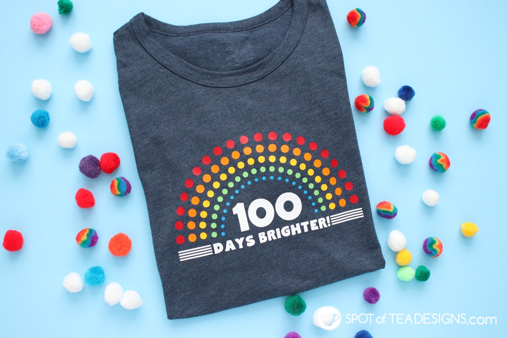 100 days brighter 100 days of school tshirt - free svg cut file! | spotofteadesigns.com