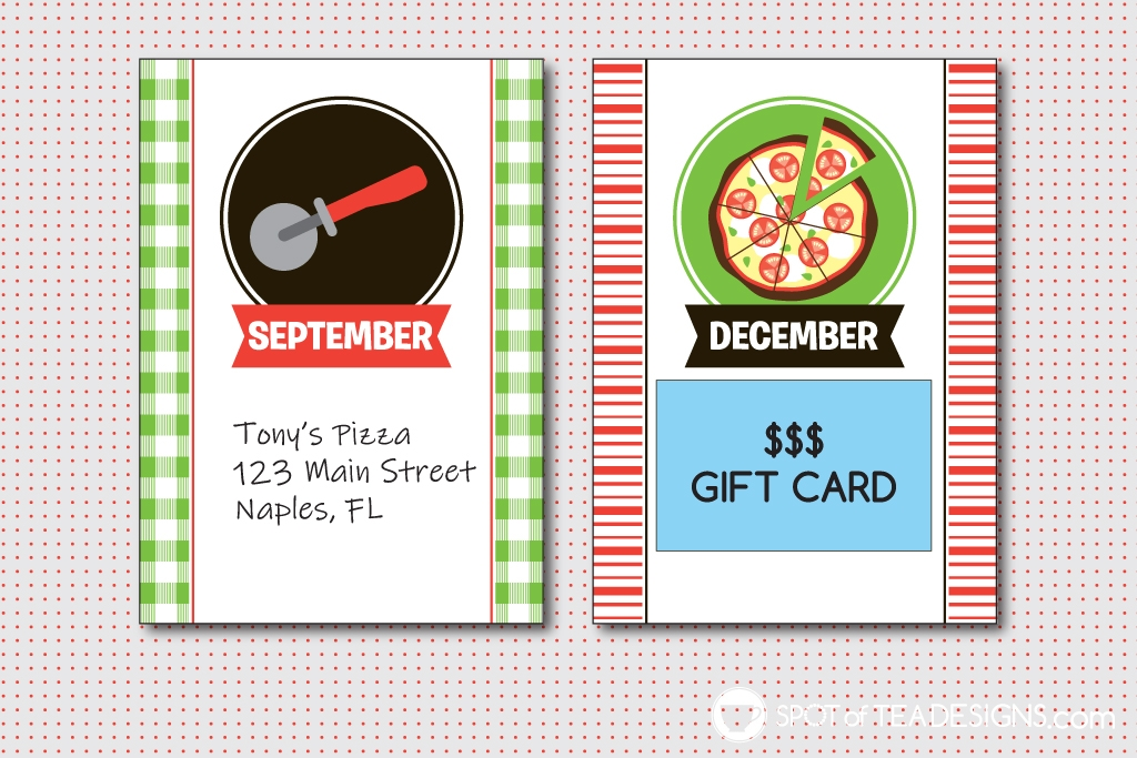 Year of Pizza printable kit - great gift idea for pizza lovers! | spotofteadesigns.com
