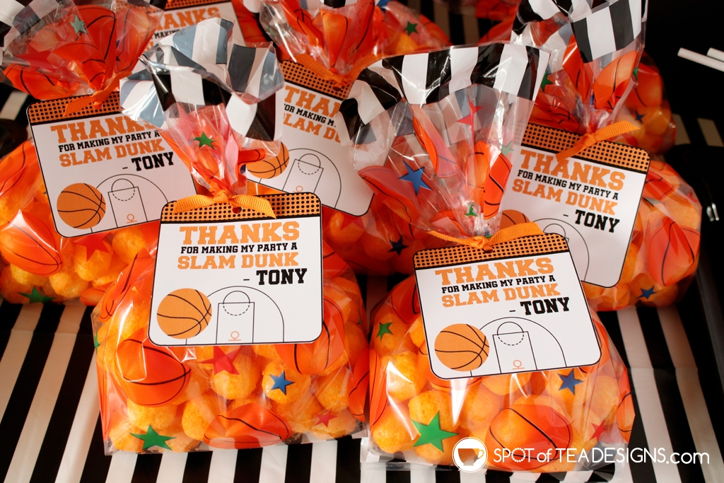 Basketball party hacks - personalized printable favor tags | spotofteadesigns.com