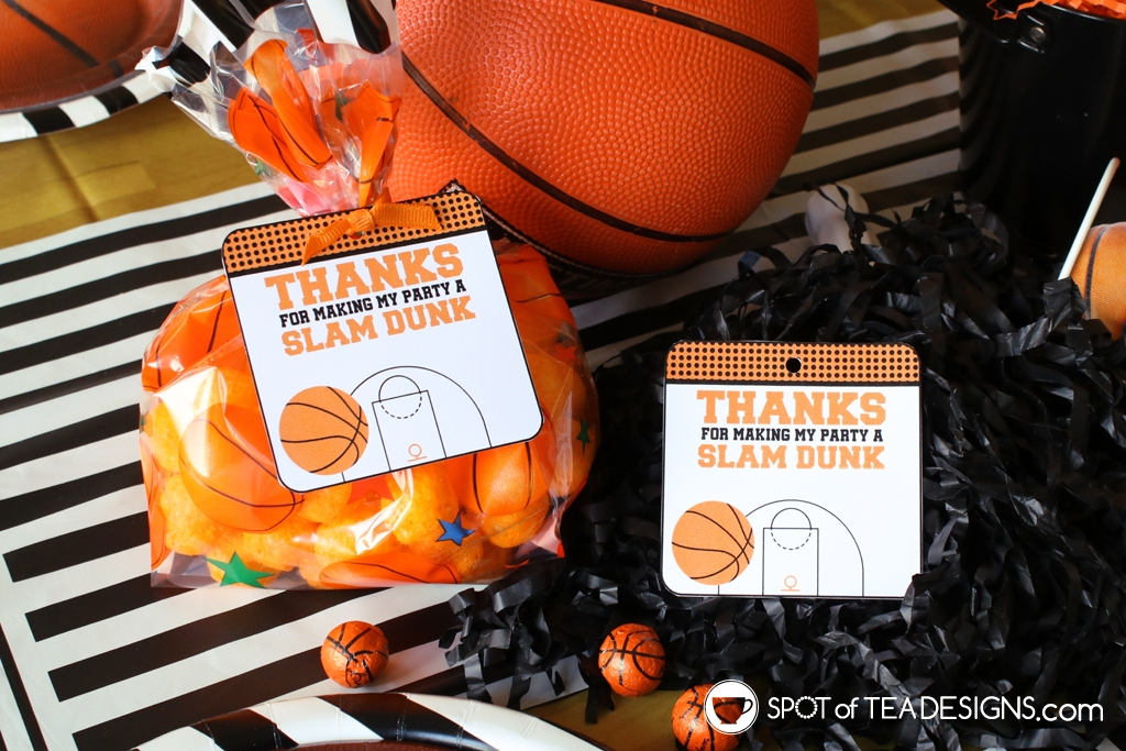 Basketball party hacks - printable favor tags | spotofteadesigns.com
