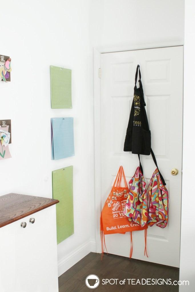 Craft Room Tour - aprons for crafting | spotofteadesigns.com