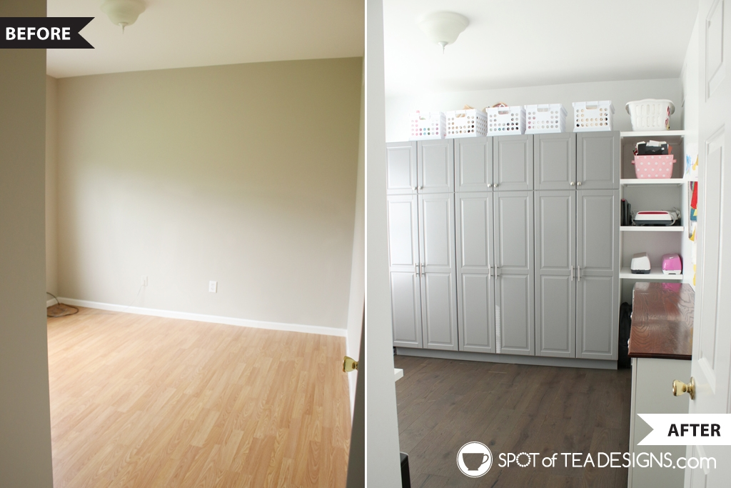 Craft Room Tour - before photo from when we moved in and the after on what it looks like now| spotofteadesigns.com