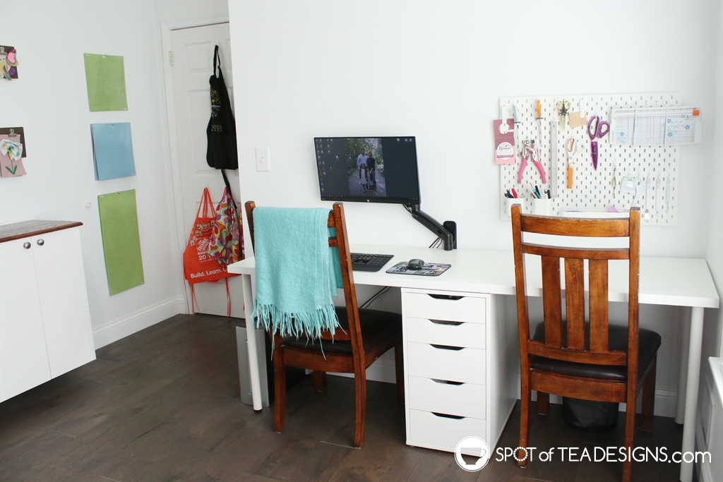 Craft Room Tour - desk workspace | spotofteadesigns.com