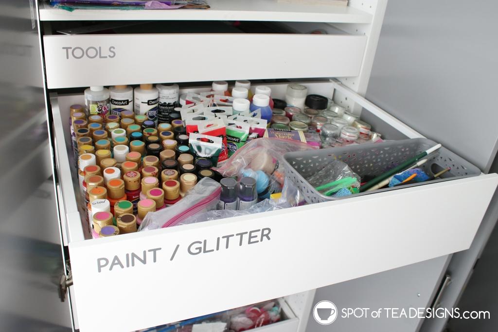 Craft Room Tour - paint drawer | spotofteadesigns.com