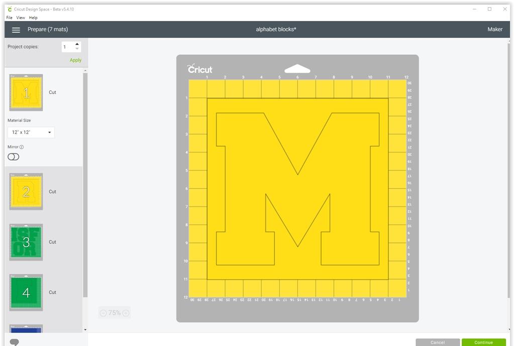 DIY Alphabet blocks with SVG cut file - cricut send to cut screenshot | spotofteadesigns.com