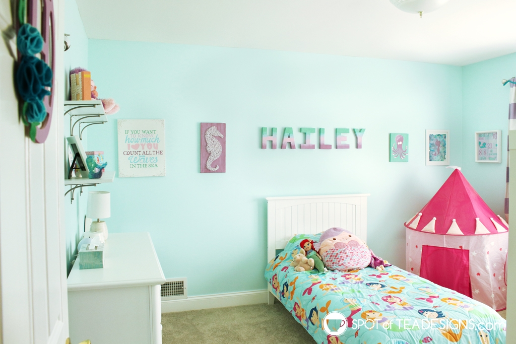 Home Tour - Preschooler's Mermaid Bedroom - teal and purple color scheme | spotofteadesigns.com