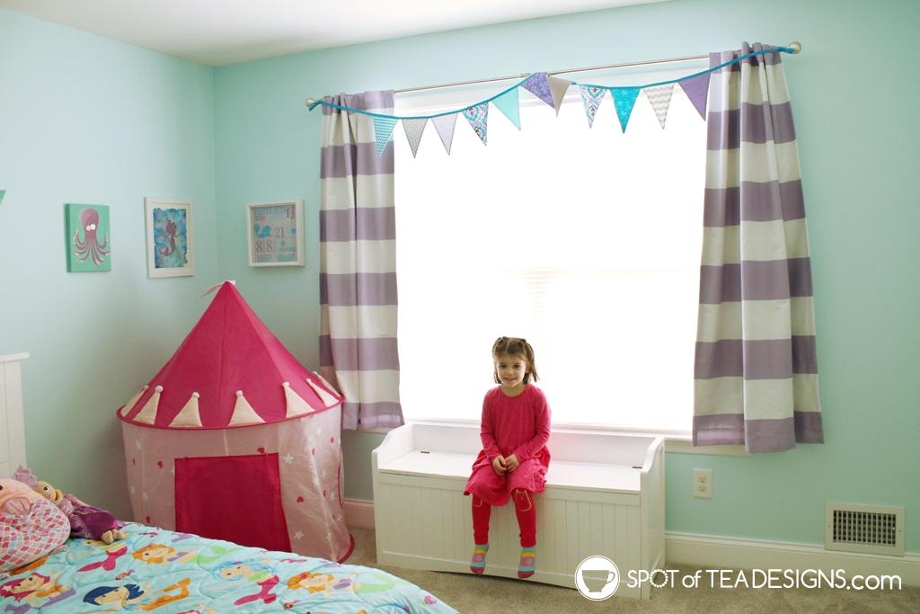 Home Tour - Preschooler's Mermaid Bedroom - teal and purple | spotofteadesigns.com
