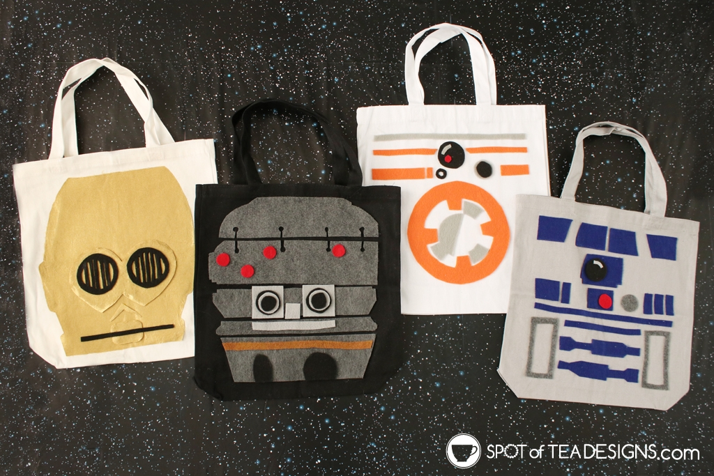 DIY Star Wars Projects to make for May the 4th - DIY Droids totes | spotofteadesigns.com