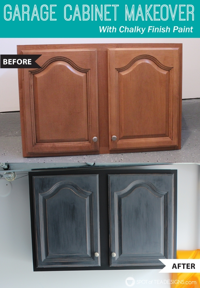 Garage Cabinet Makeover with Deco Art Chalky Finish Paint - step by step photo tutorial | spotofteadesigns.com