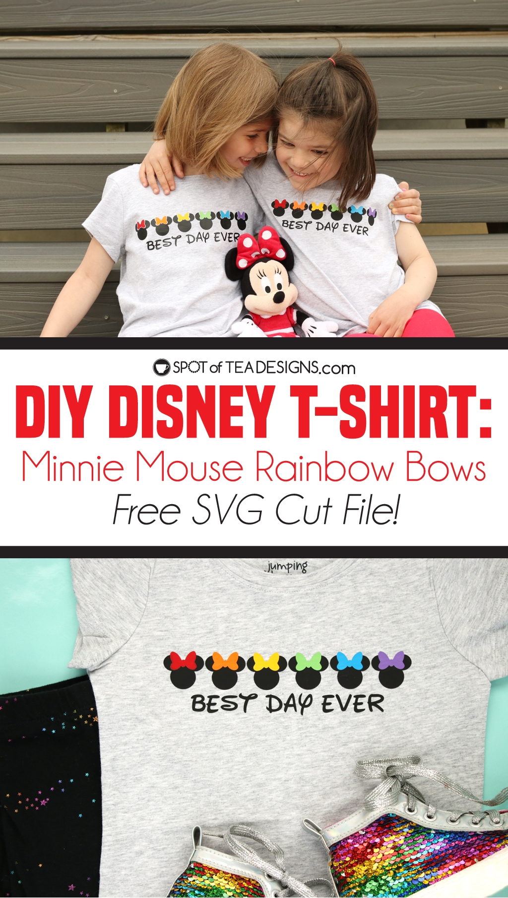 DIY Disney T-shirt - Minnie Mouse Rainbow Bows design, available as a free svg cut file! | spotofteadesigns.com