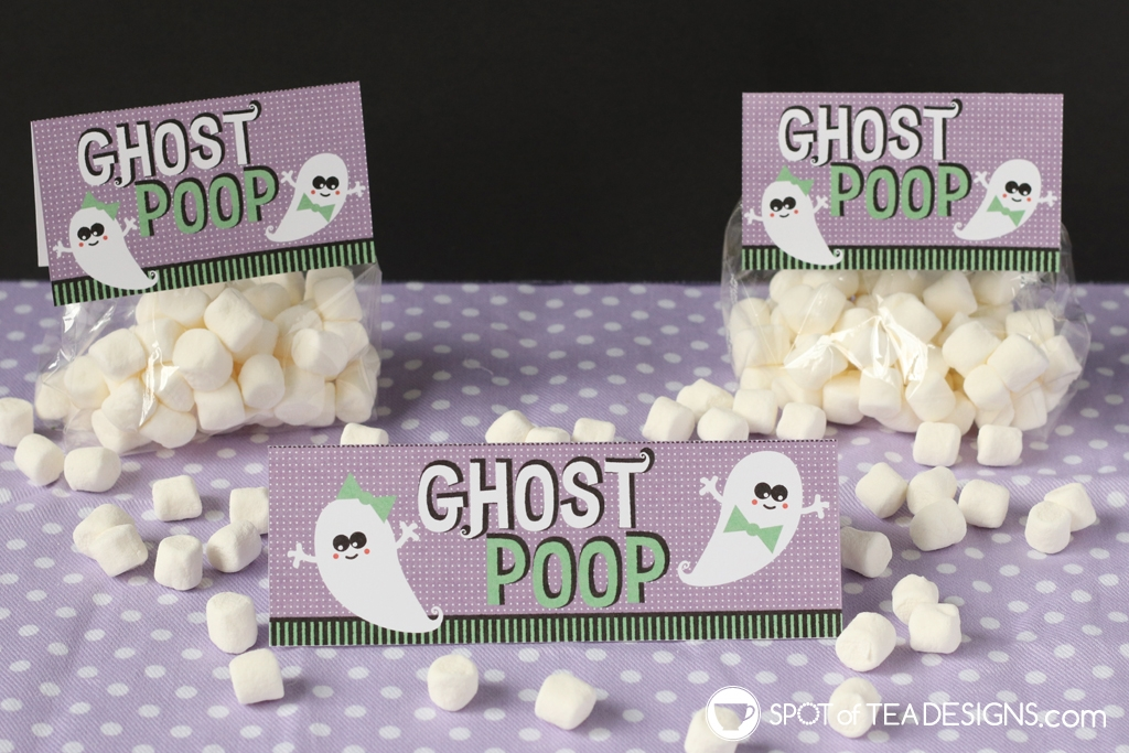 Halloween Bag Toppers - Ghost Poop - pair with marshmallow or white chocolate candies | spotofteadesigns.com