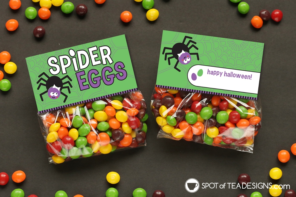 Printable Halloween Bag toppers - spider eggs, just add colorful candies | spotofteadesigns.com