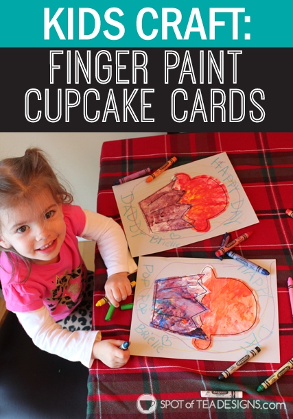Kid Craft Cupcake Birthday Card - turn kid made fingerpaint art into a card! | spotofteadesigns.com