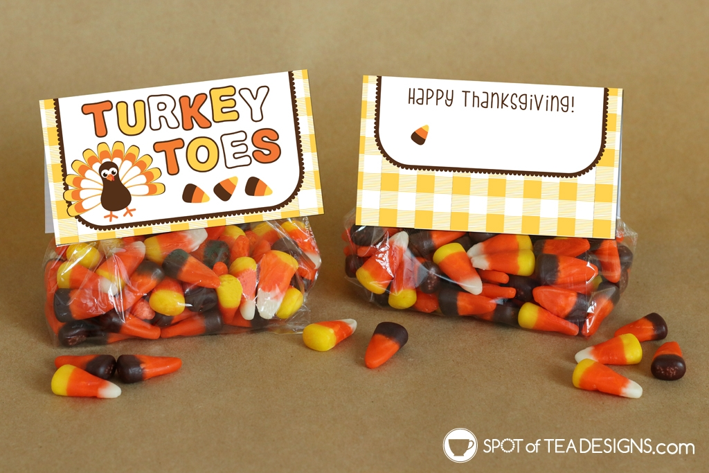 Turkey Toes Thanksgiving Bag toppers - add over bag of candy corn | spotofteadesigns.com