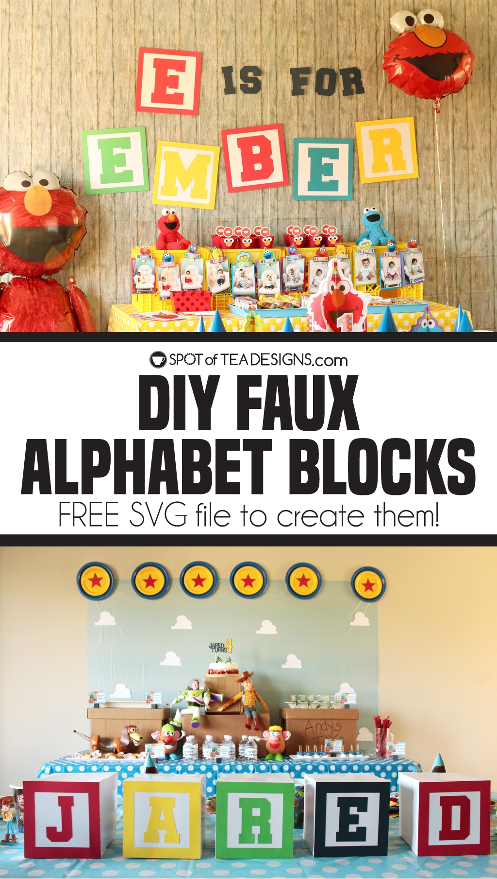 DIY Faux alphabet blocks to use for party decor. Free svg file to create it for any letters! | spotofteadesigns.com