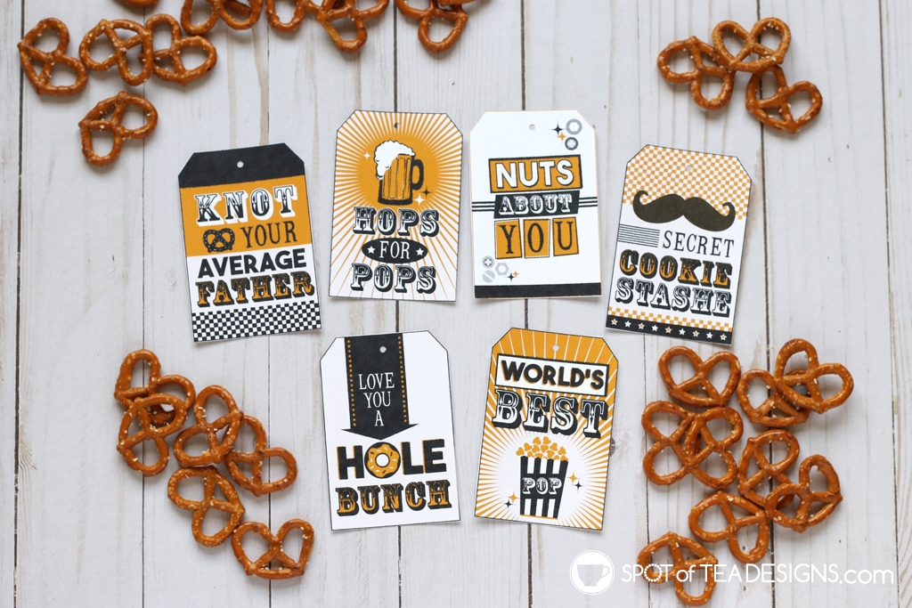 Retro Father's Day gift tags - pair with food and drink gifts! | spotofteadesigns.com