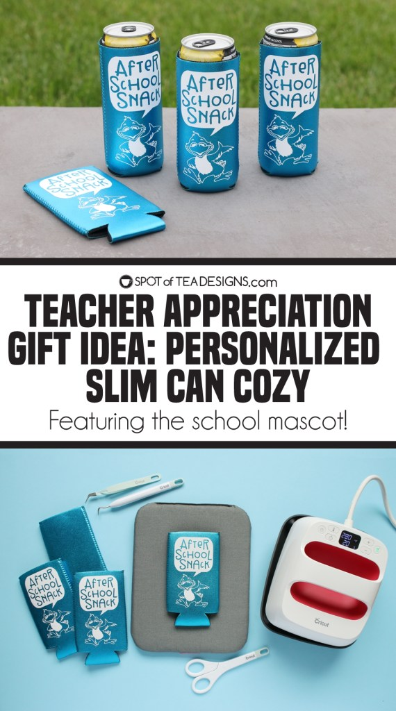 Teacher appreciation gift idea: personalized slim can cozy featuring the school mascot | spotofteadesigns.com