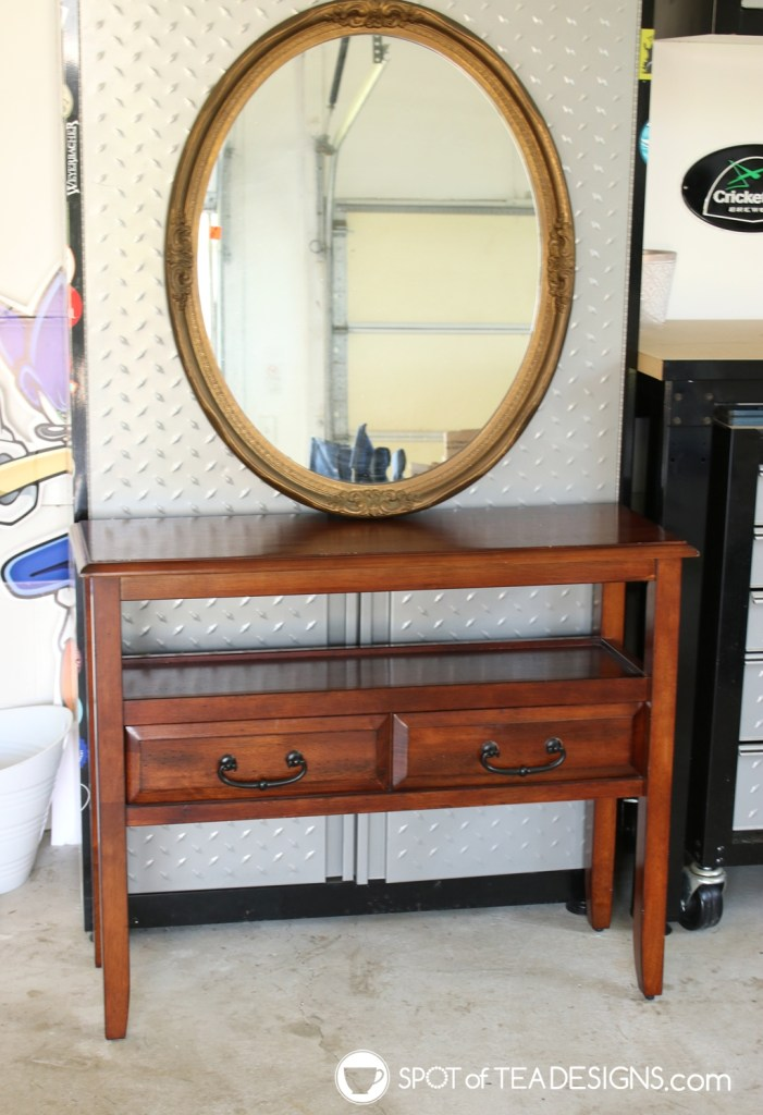 Entry mirror and table makeover with step by step photos | spotofteadesigns.com