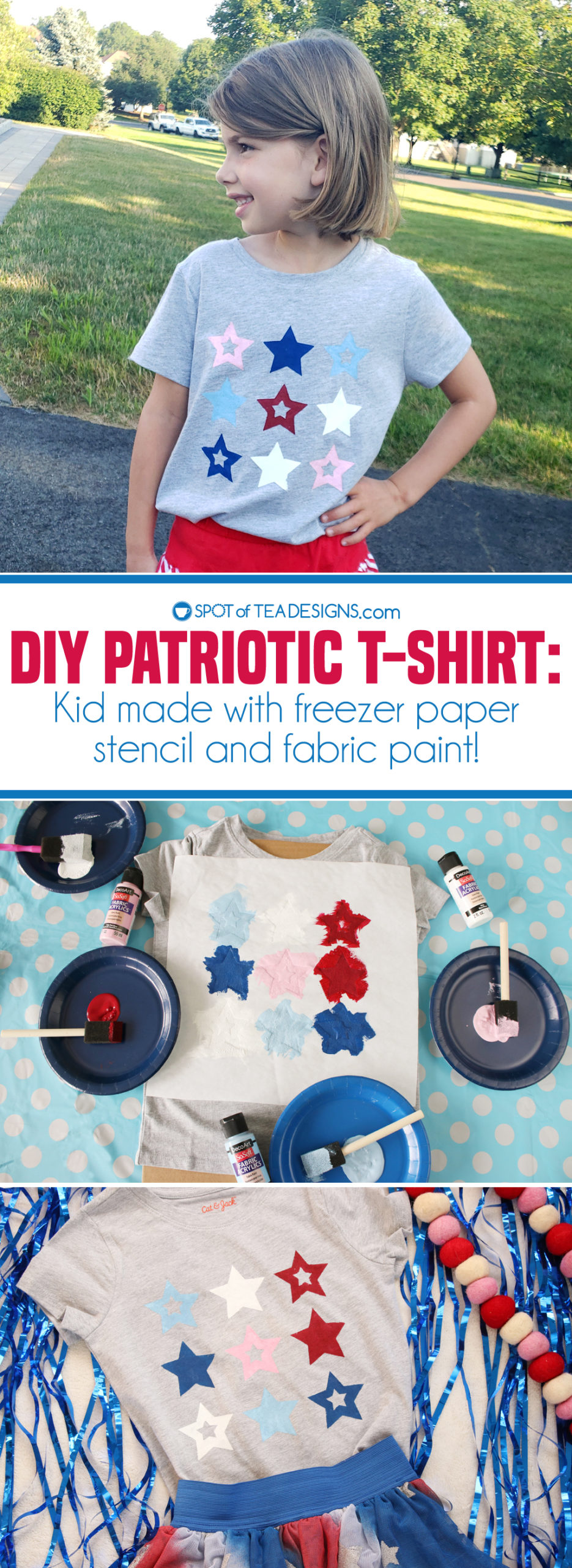 DIY Patriotic T-shirt made using freezer paper stencil and fabric paint | spotofteadesigns.com