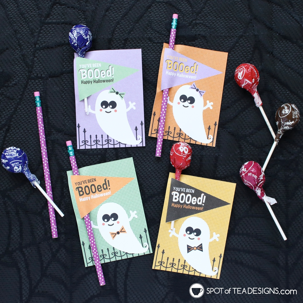 You've been booed Printable Halloween Lollipop Holders | spotofteadesigns.com