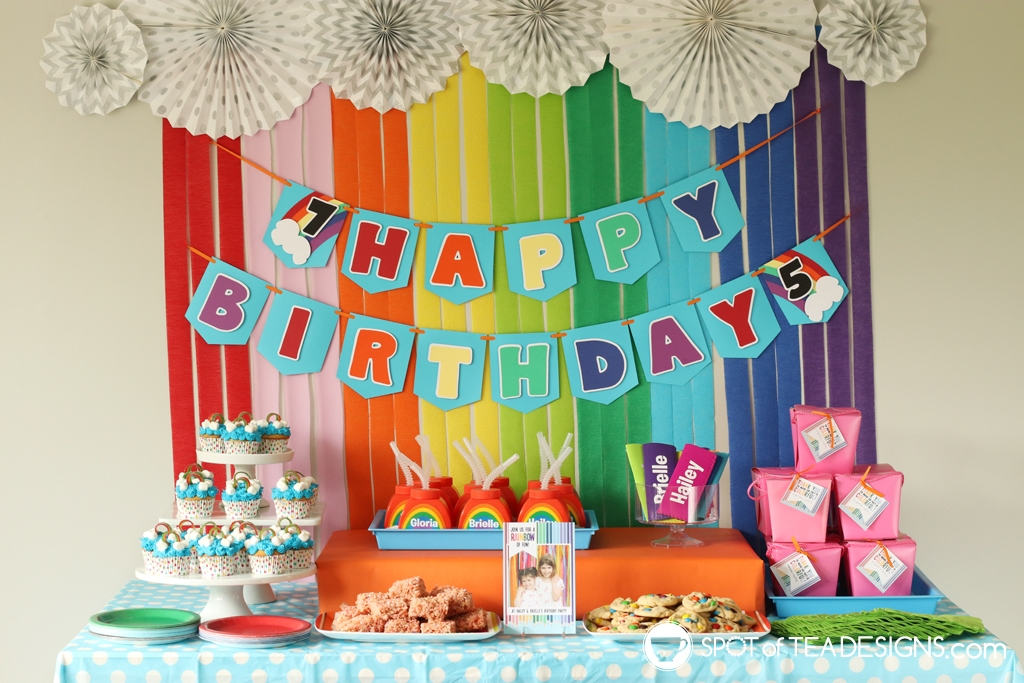 Rainbow Birthday Party - dessert table | Spotofteadesigns.com