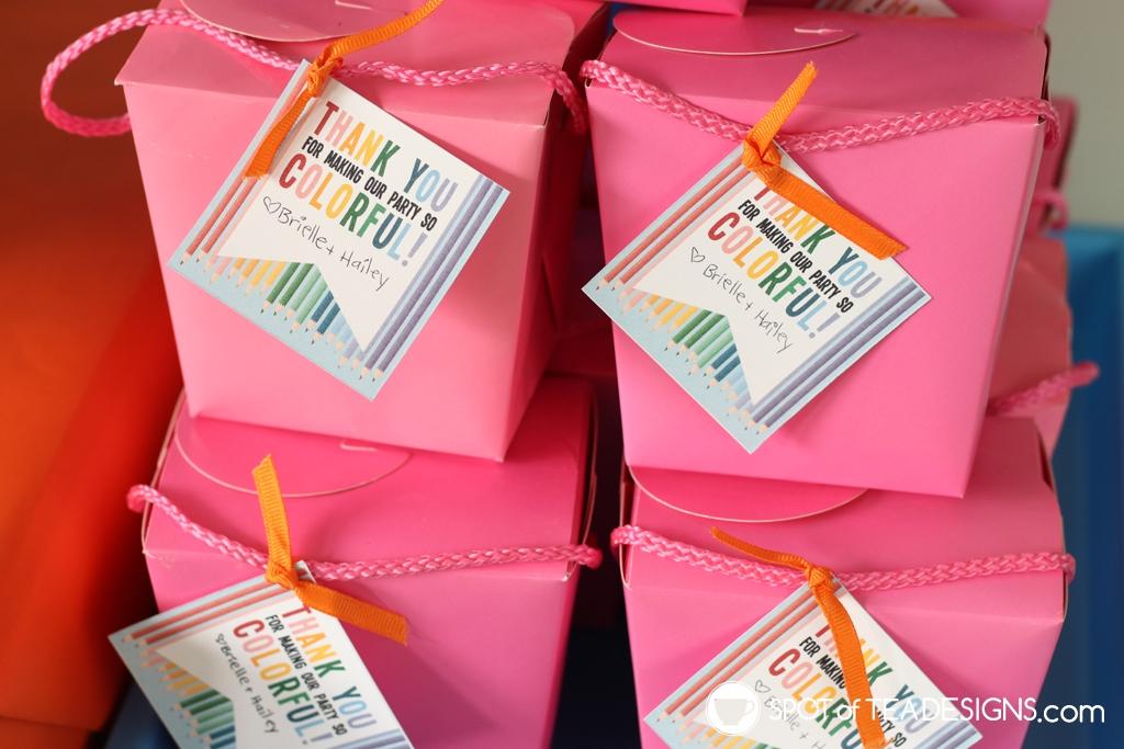 Rainbow Birthday Party - favor containers | Spotofteadesigns.com