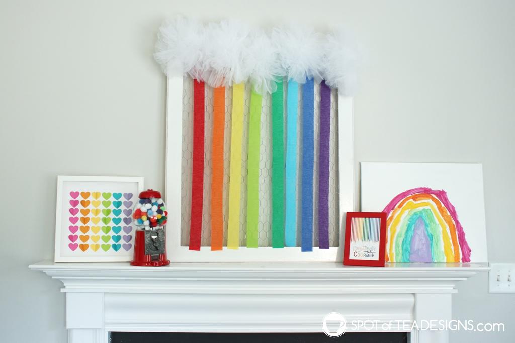 Rainbow birthday party ideas -rainbow mantle decor| spotofteadesigns.com