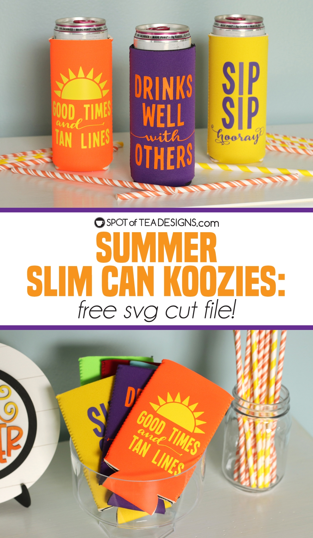 Summer slim can koozies with free svg cut file | spotofteadesigns.com