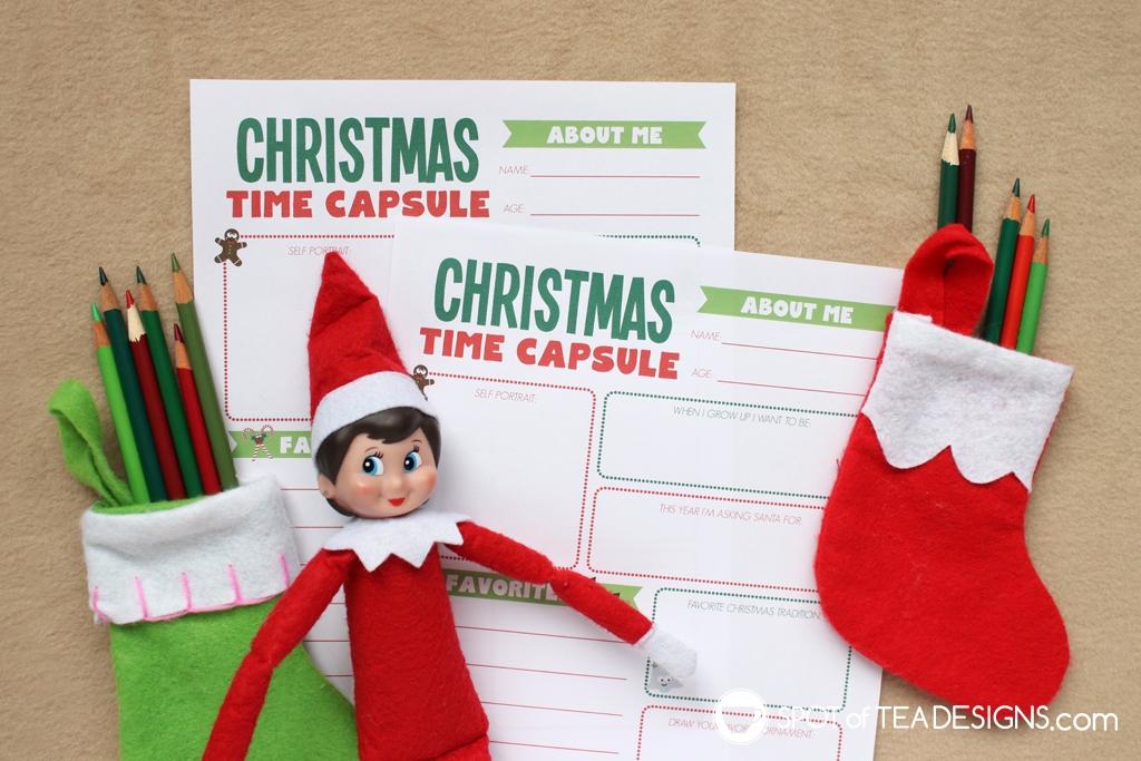 Elf on the Shelf Ideas: Christmas Time Capsule Free Printable | spotofteadesigns.com