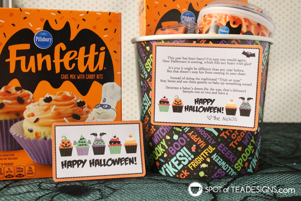 Halloween baking gift basket, complete with a printable tag! Great for trick or treat alternative gift to boo a friend | spotofteadesigns.com