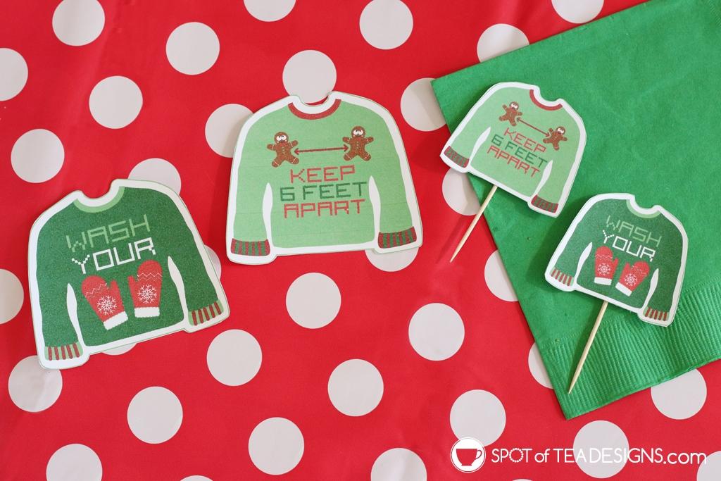 Christmas 2020 printables - ugly sweater tags or food picks | spotofteadesigns.com
