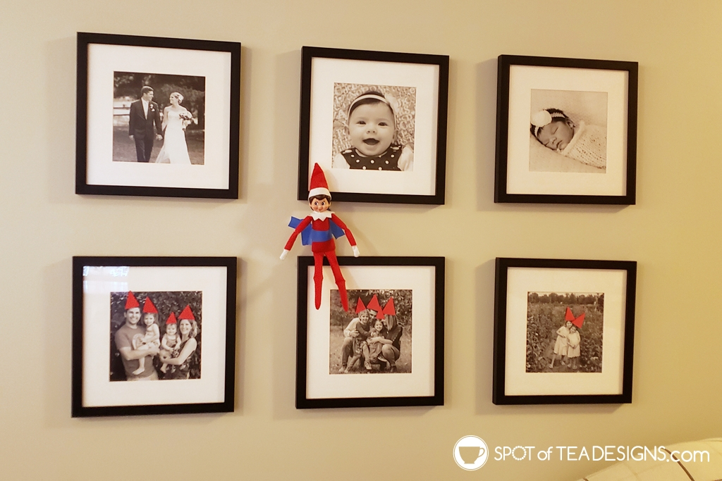 elf on the shelf ideas - decorate frames with santa hats | spotofteadesigns.com