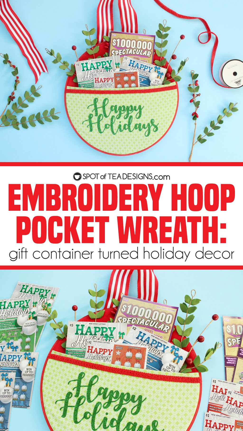Embroidery Hoop Pocket Wreath - gift container tunred holiday decor | spotofteadesigns.com