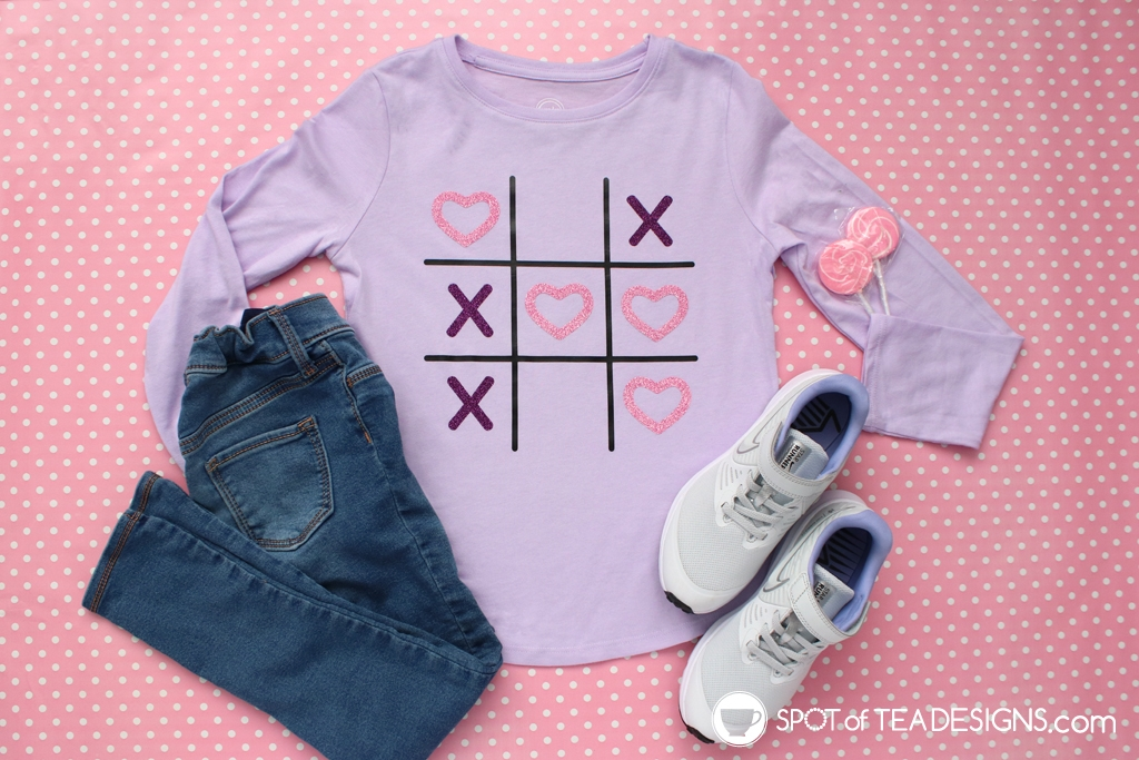 Tic Tac Toe Valentines Cut File - step by step tutorial to create this cute Valentine's Day t-shirt | spotofteadesigns.com
