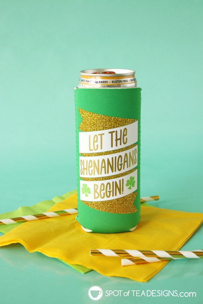 Let the shenanigans begin drink cozy free cut file for st. patrick's day | spotofteadesigns.com