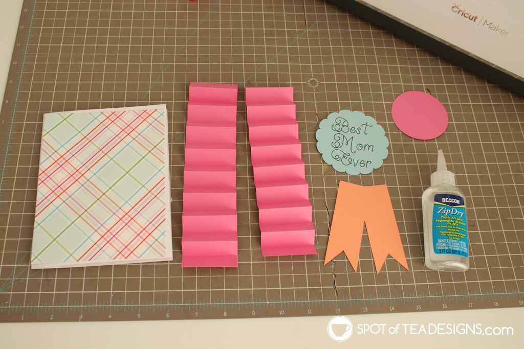 Mother's Day Ribbon Card - Free SVG cut file plus step by step photos | spotofteadesigns.com