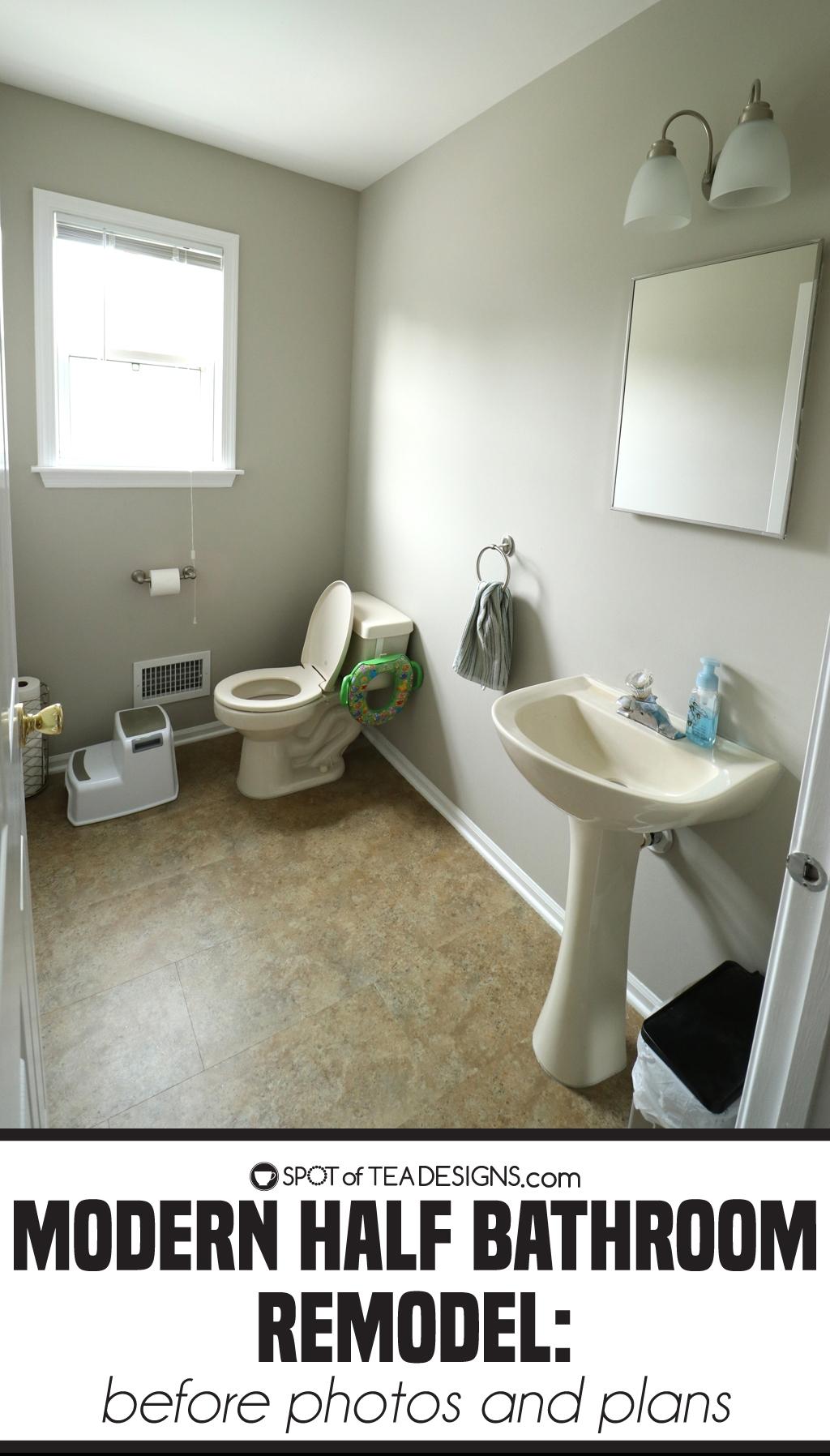 Modern Half Bathroom Remodel - Before photos | spotofteadesigns.com