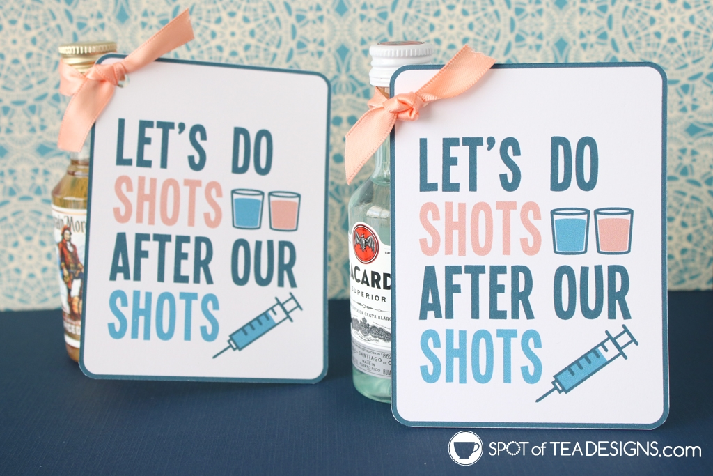 "Post vaccine gift idea - drinks with ""let's do shots after our shots"" tag 