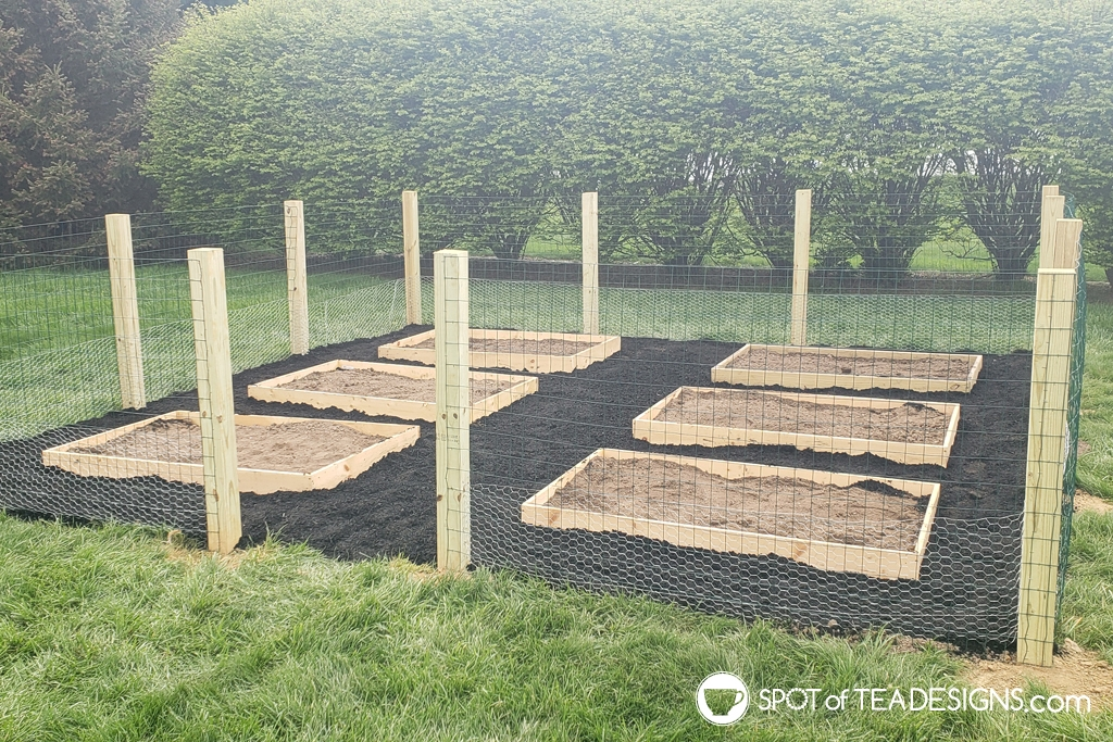 Our backyard vegetable garden - part 2: building the fence and the raised beds   spotofteadesigns.com