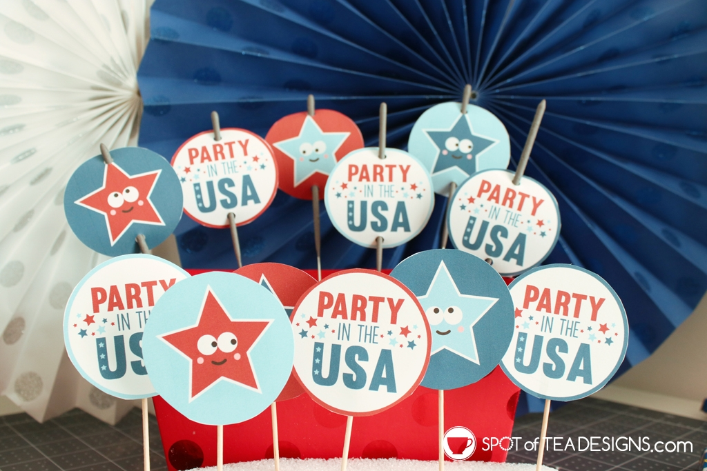 Party in the USA patriotic printables - sparklers tags | spotofteadesigns.com