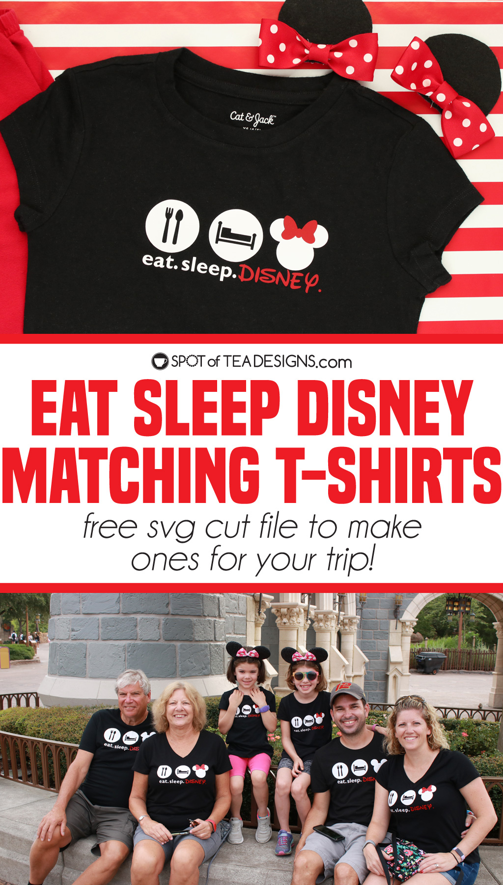 Eat sleep Disney matching t-shirts with free svg cut file   spotofteadesigns.com