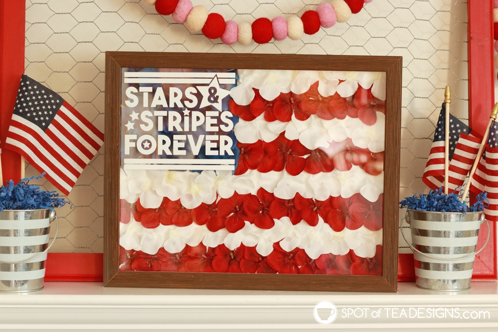 Patriotic fireplace mantle - stars and stripes mantle | spotofteadesigns.com
