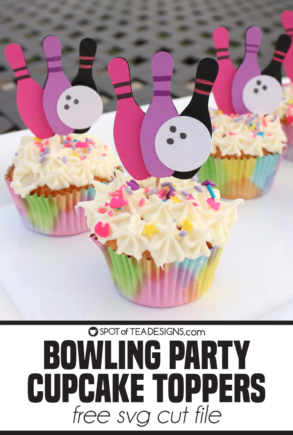 girls bowling party cupcake toppers with free svg cut file   spotofteadesigns.com
